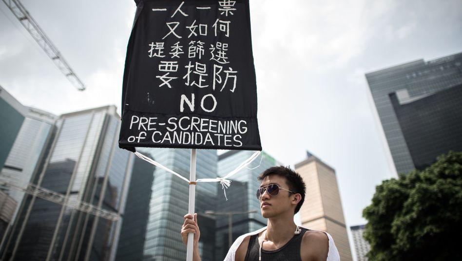 Demonstrant in Hongkong: Hilfe von der Finanzbranche