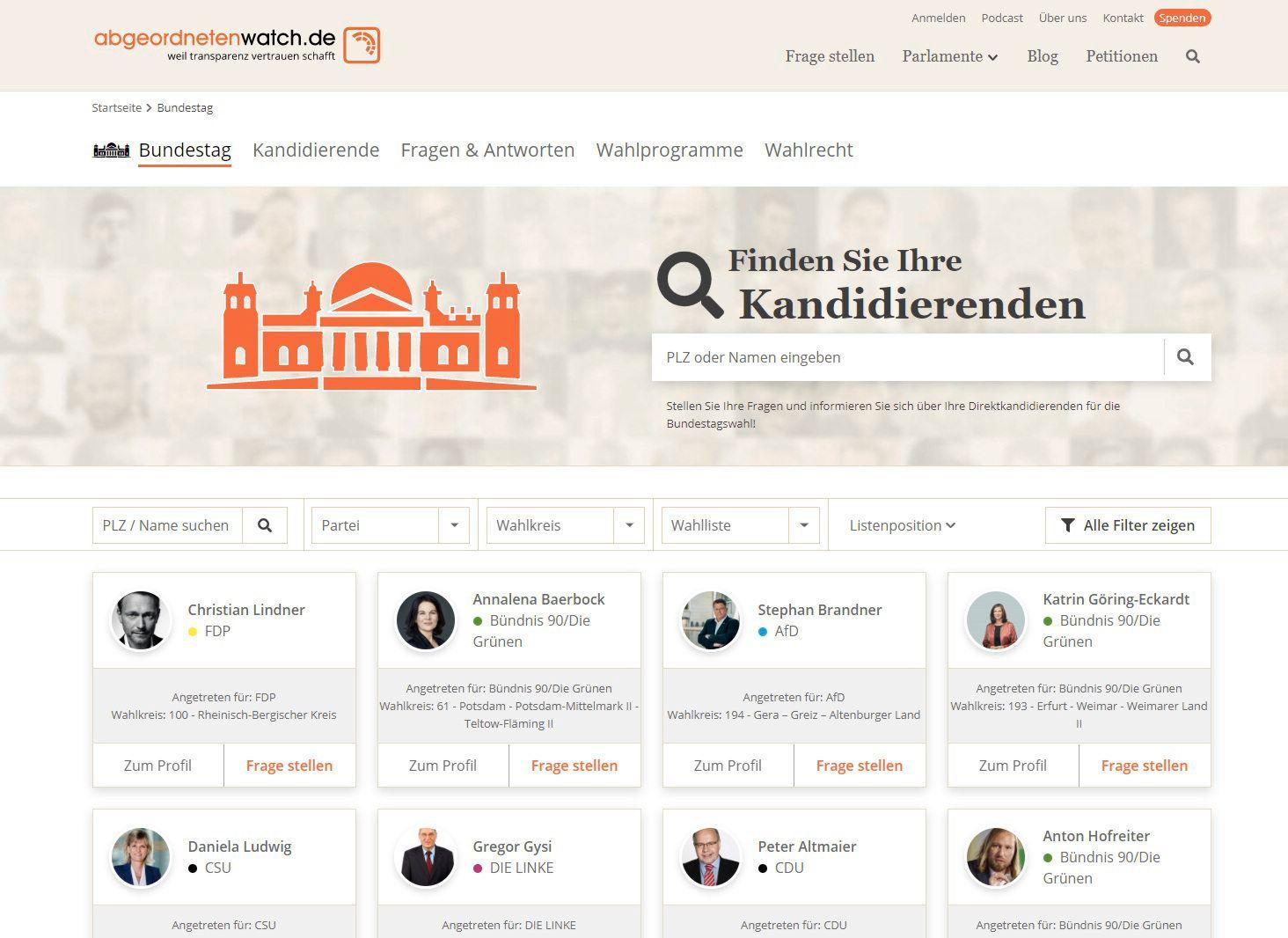 Screenshot Abgeordnetenwatch.de