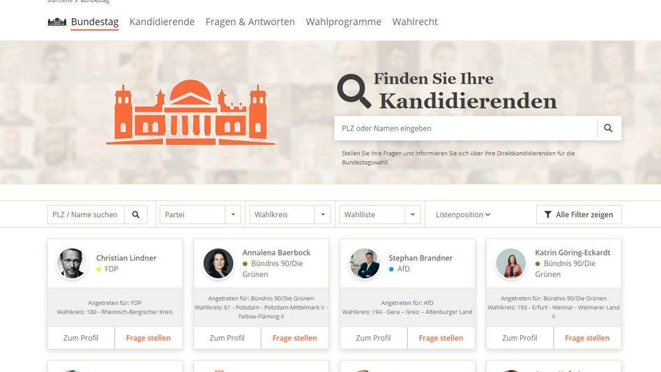 Screenshot des neuen Frageportals bei abgeordnetenwatch.de: Hier erfährt man, wer den eigenen Wahlkreis vertreten will