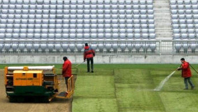 Rasenverlegung im Stadion