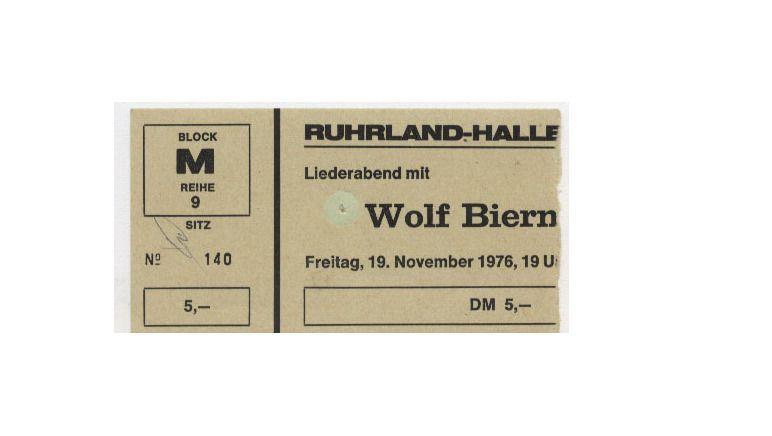 Eintrittskarte für das Biermann-Konzert in Bochum am 19. November 1976.