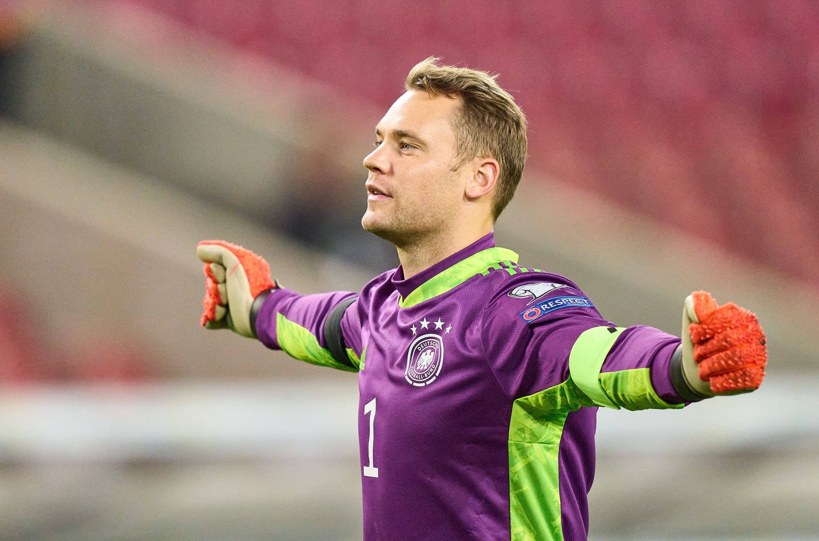 Manuel NEUER, DFB 1 goalkeeper, celebrate 4-0 goal in the match GERMANY - ARMENIA Qualification for World Championships