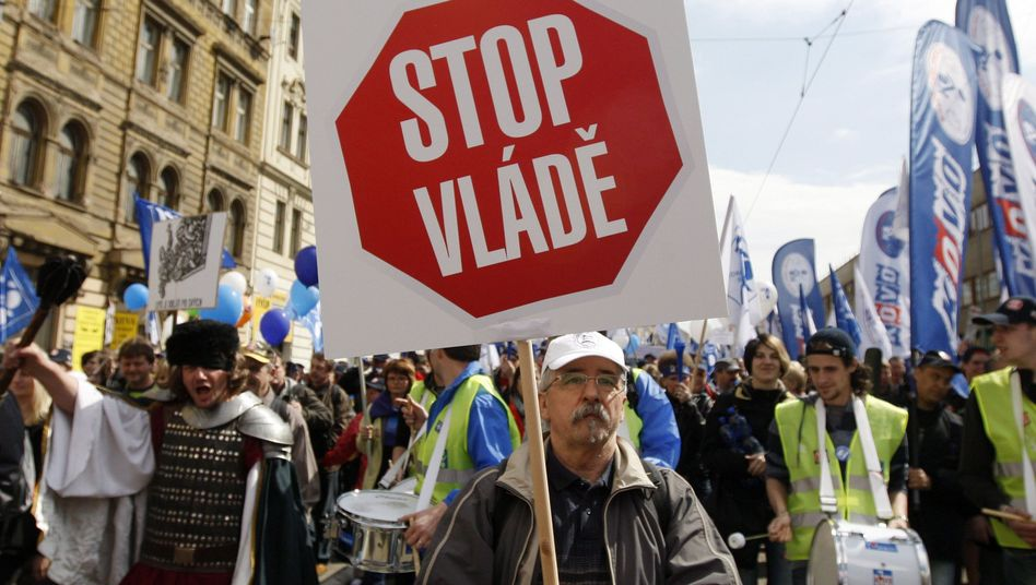 Czech trade unions protest austerity measures from Prague on April 21.