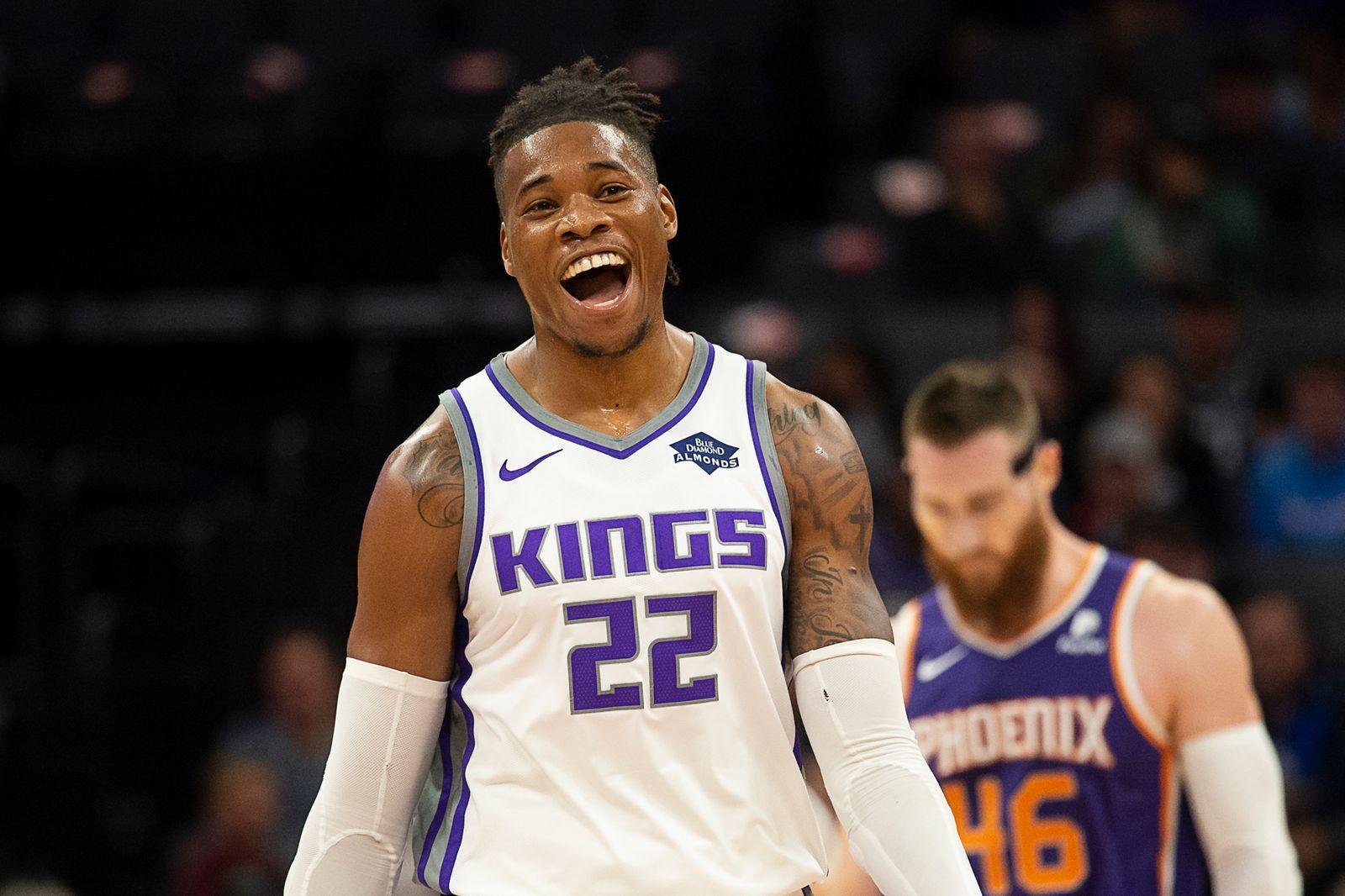 October 10, 2019, Sacramento, CA, USA: Sacramento Kings forward Richaun Holmes (22) reacts after a basket during a game