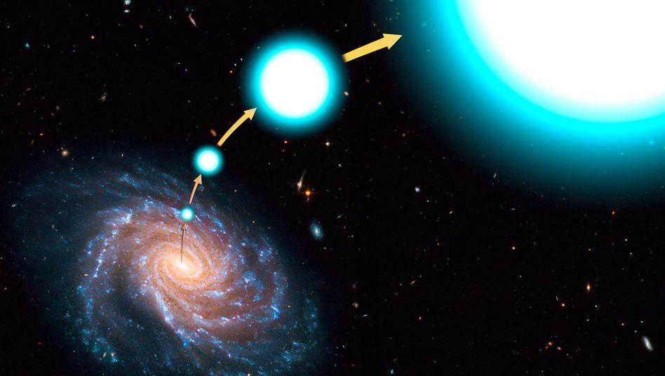 Reise eines Sterns (Illustration): Mit 2,5 Millionen km/h aus der Milchstraße