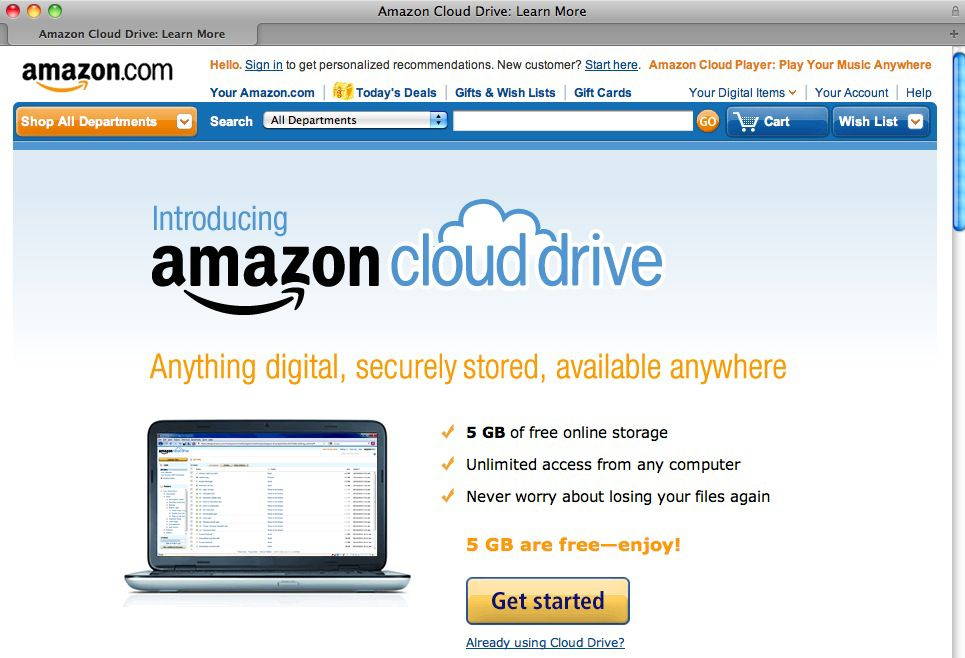 SCREENSHOT Amazon / Cloud Drive