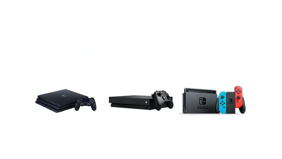 Die drei großen Konsolen: PlayStation 4, Xbox One, Switch