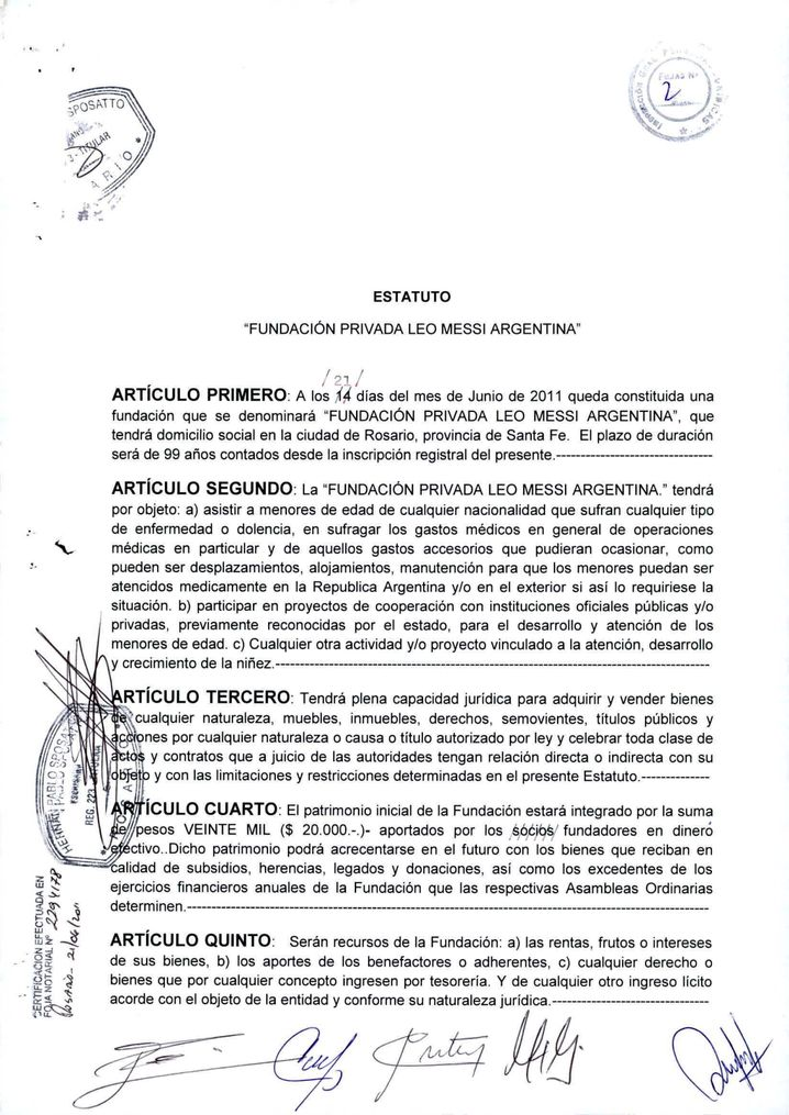 The document that cemented the founding of the Messi foundation