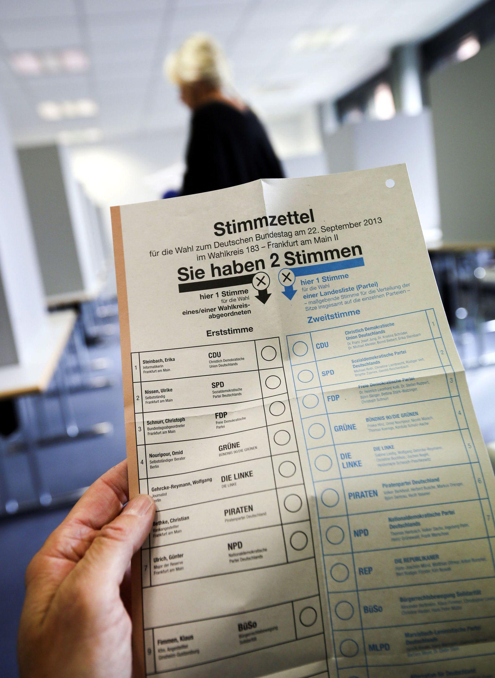 Bundestagswahl 2013 - Wahlschein