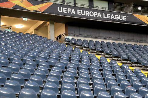 Leere Sitzplätze beim Geisterspiel Eintracht Frankfurt gegen FC Basel im März