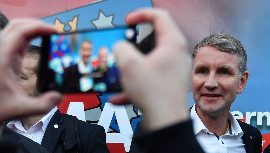Björn Höcke, AfD, beim Wahlkampfabschluss der Thüringer AfD