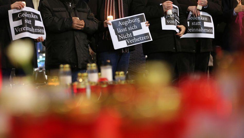 Demonstration in Augsburg bei einer Kranzniederlegung eines AfD-Abgeordneten, 9.12.2019