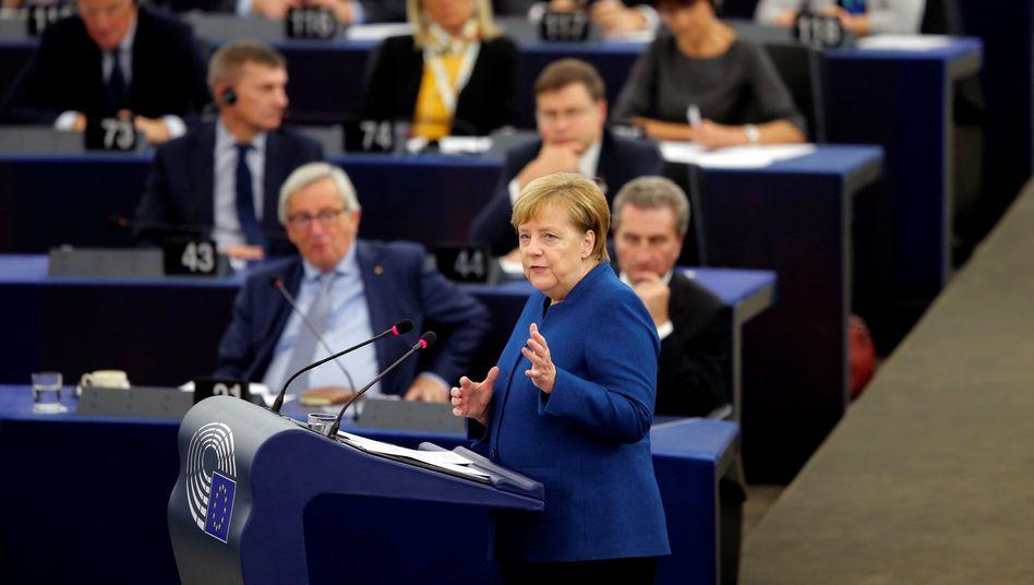Angela Merkel vor dem Europaparlament