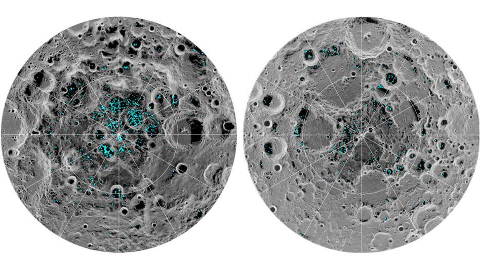 Wassereis-Vorkommen am Südpol (l.) und am Nordpol (r.) des Mondes
