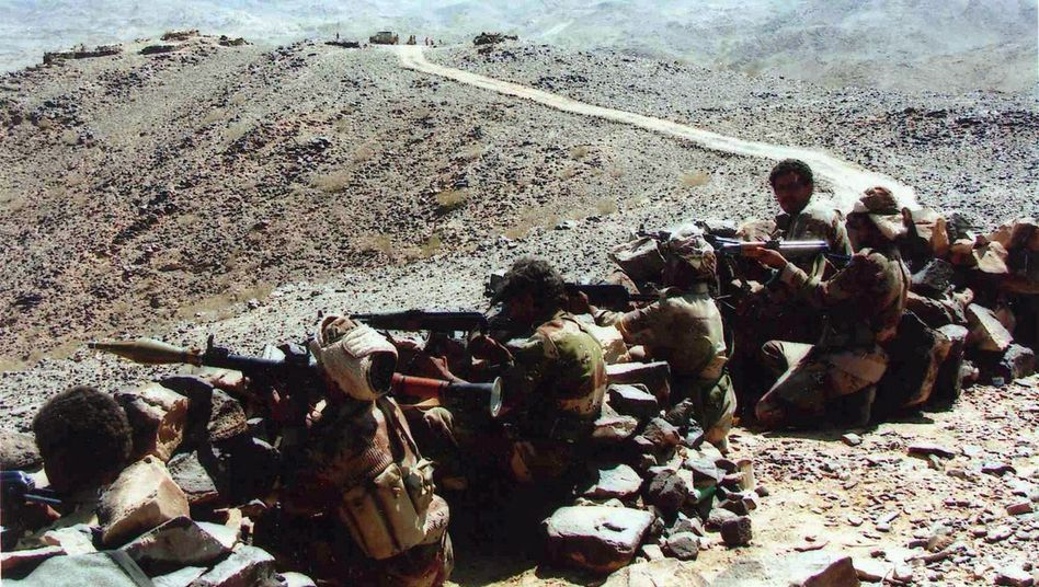 Yemeni soldiers take up a position against Houthi rebels in 2009 in this picture provided by the Yemeni army. US dispatches make it clear that the fight could not continue without US support.