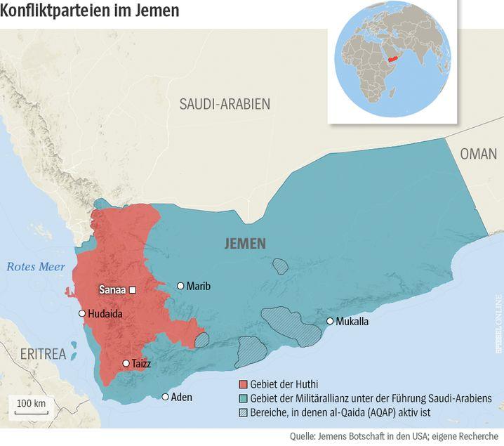 Ungefähre Frontverläufe im Jemen