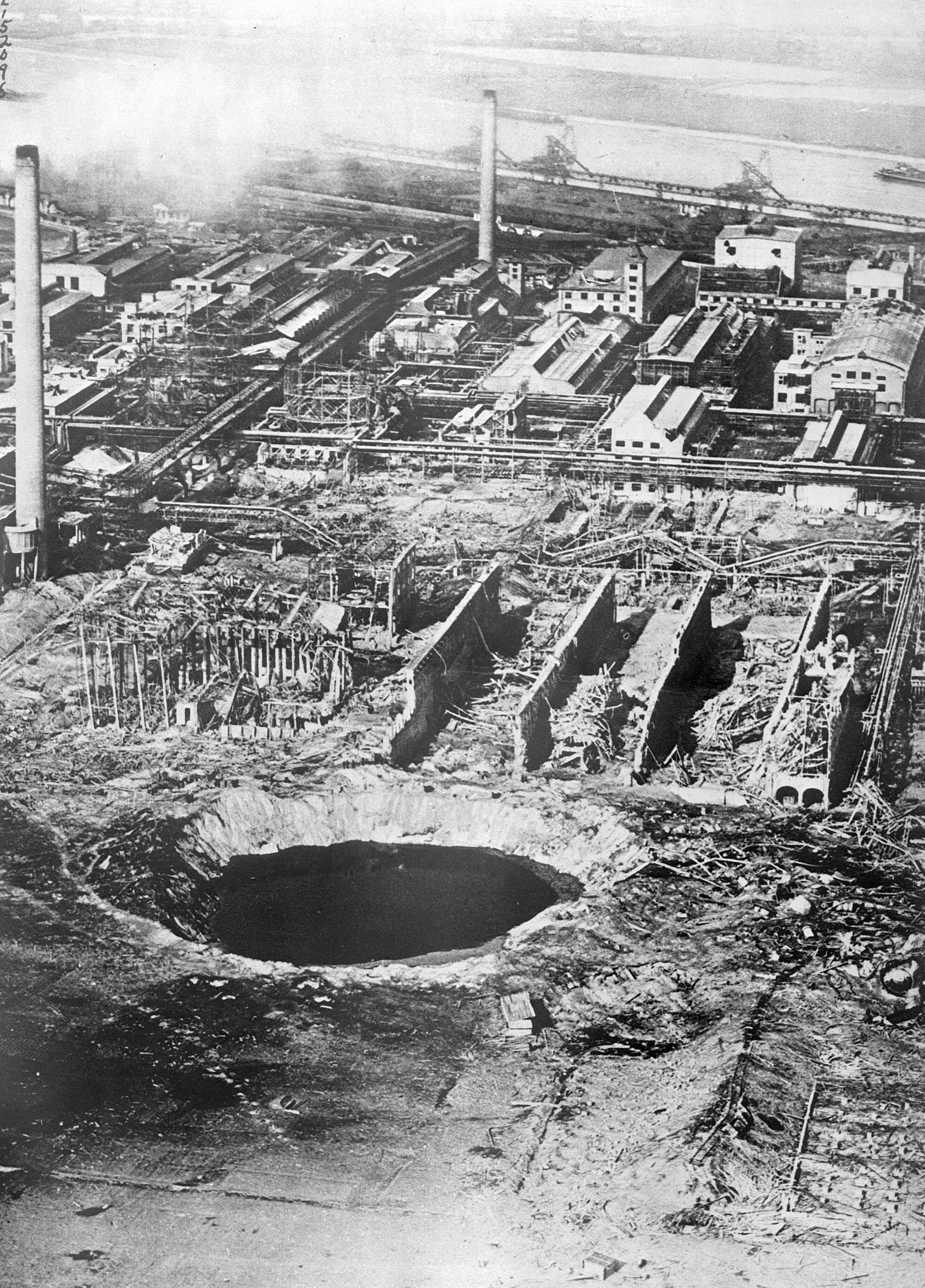 Aerial Of Crater Formed By Explosion