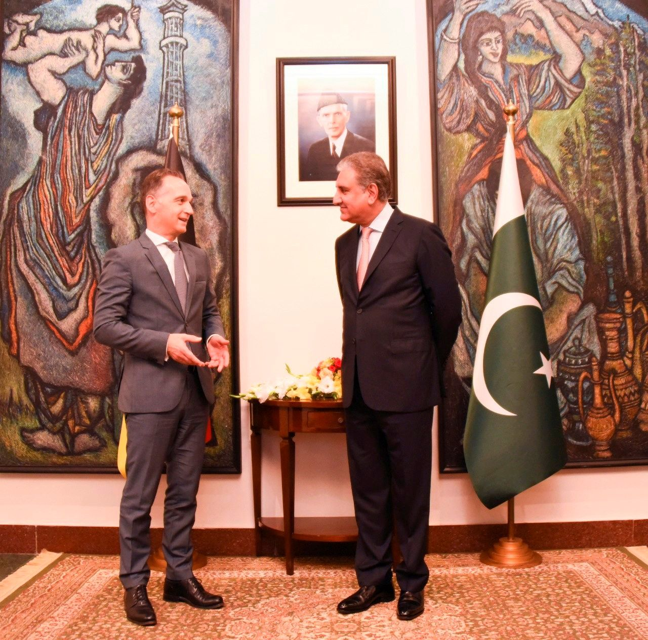 Pakistan's Foreign Minister Shah Mahmood Qureshi welcomes his German counterpart Heiko Maas upon his arrival at the Ministry of Foreign Affairs (MoFA) office, Islamabad