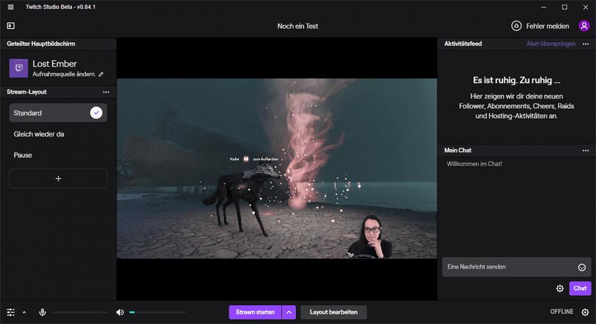 Screenshot aus Twitch Studio Beta: Eine eigene Software der Plattform
