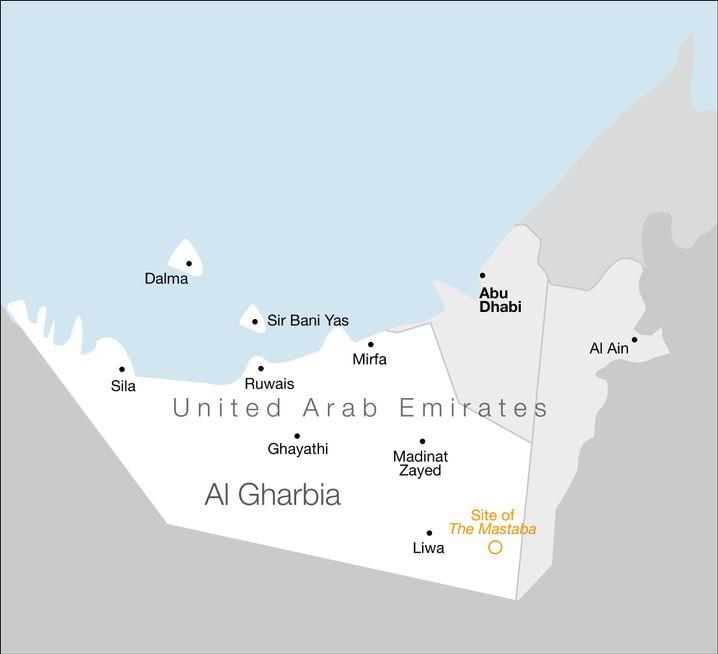 Die geplante Baustelle für die Mastaba in der Wüste von Al-Gharbia