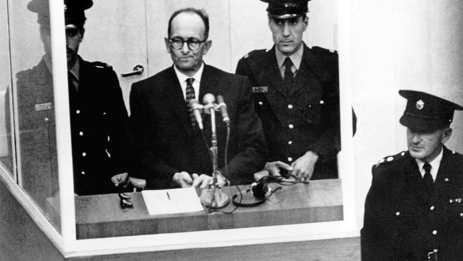 Nazi criminal Adolf Eichmann on trial in Jerusalem in 1961.
