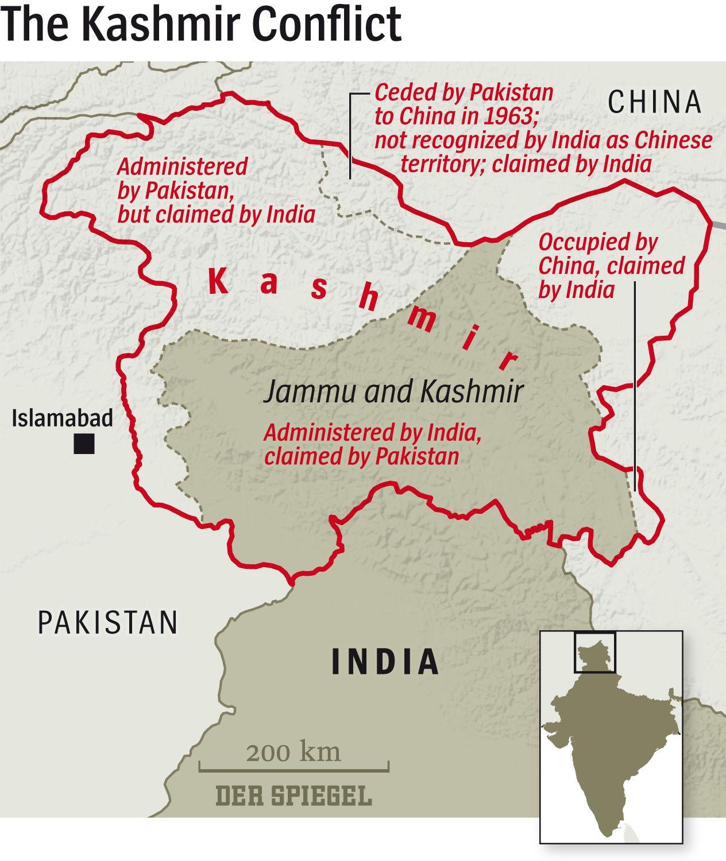 ENGLISH VERSION Grafik Karte DER SPIEGEL Kaschmir Konflikt - The Kashmir Conflict - aufbereitet für SPIEGEL ONLINE