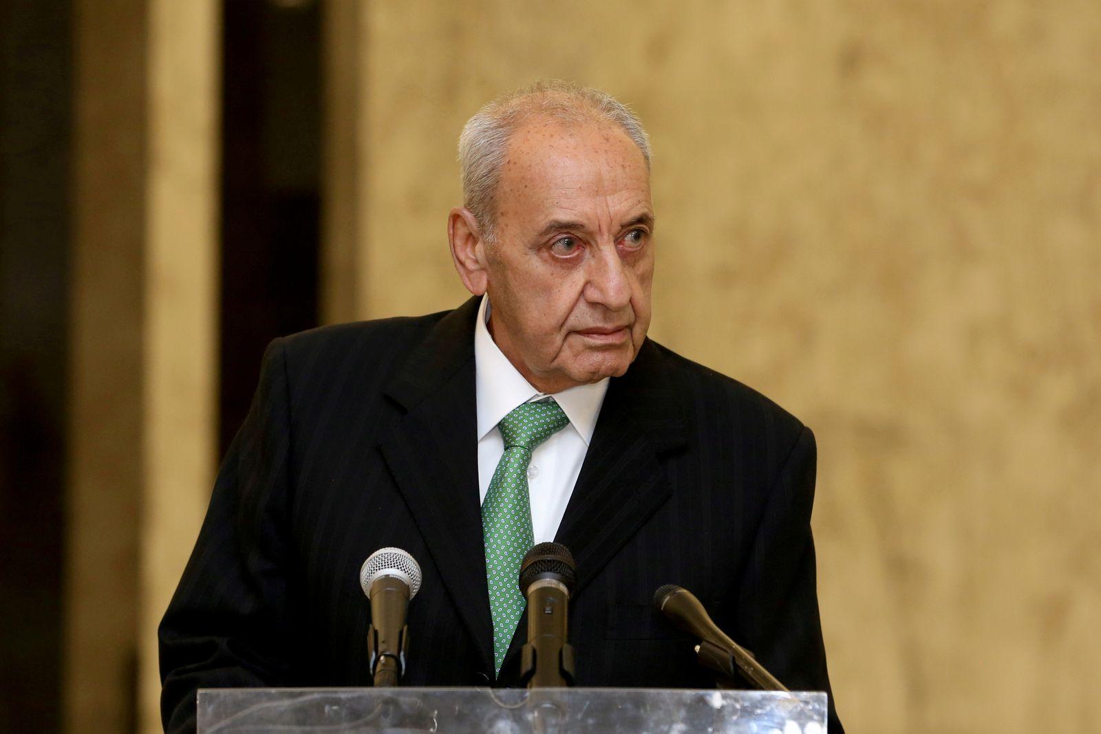 FILE PHOTO: Lebanese Parliament Speaker Nabih Berri is seen at the presidential palace in Baabda