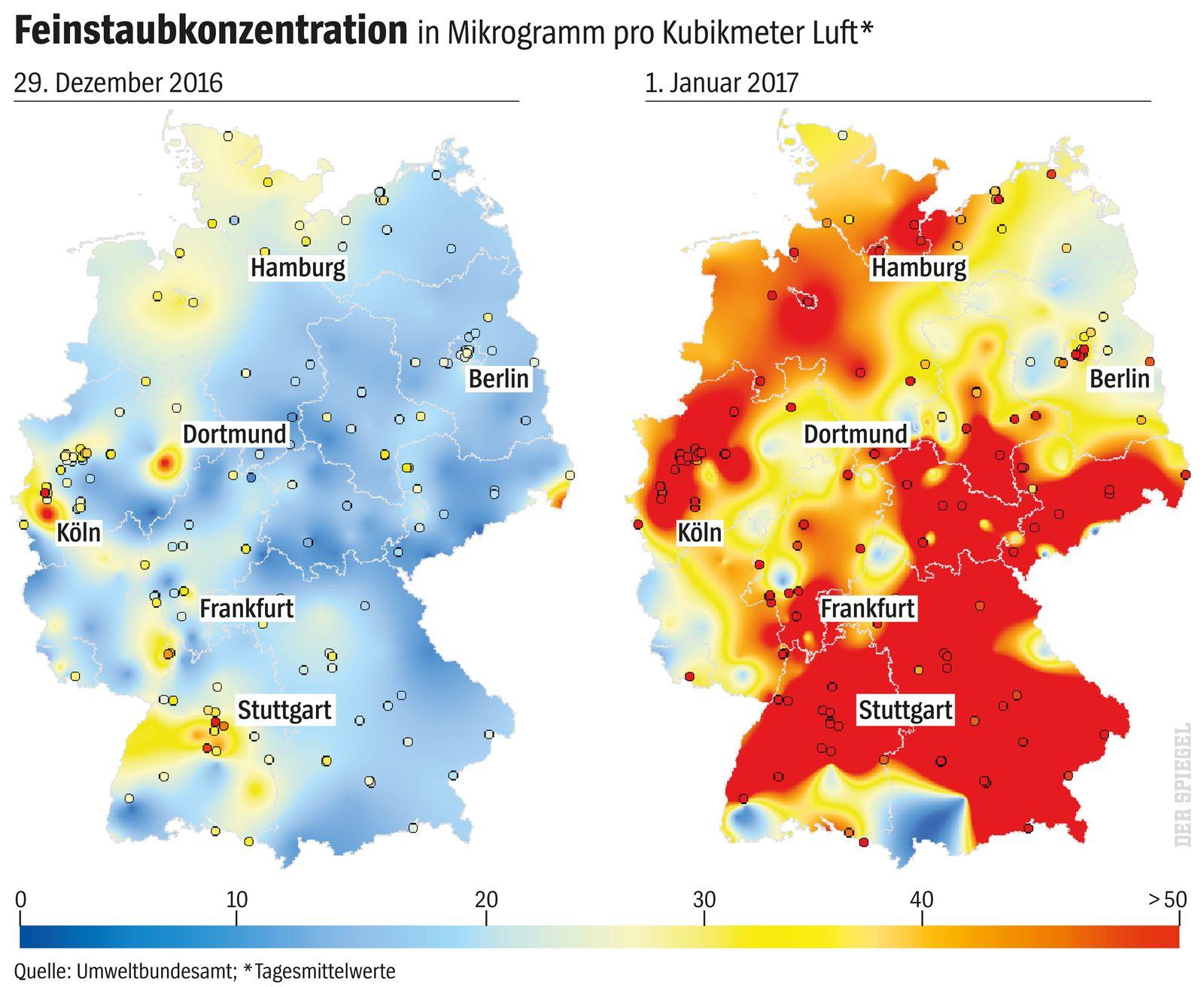 SPIEGEL 52/2017 Grafik Feinstaub Silvester Böller Feuerwerk