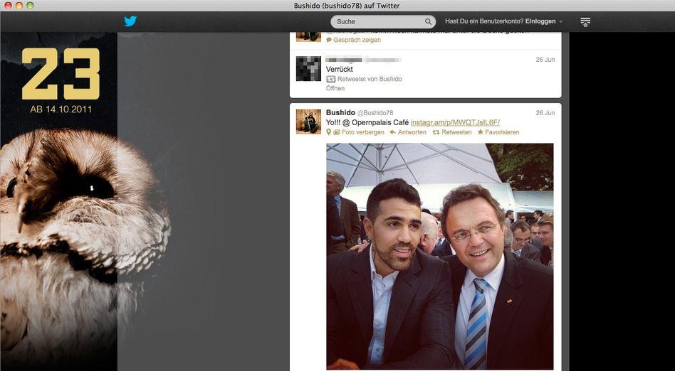 Screenshot des Twitter-Accounts von Bushido: Kumpeliger Innenminister