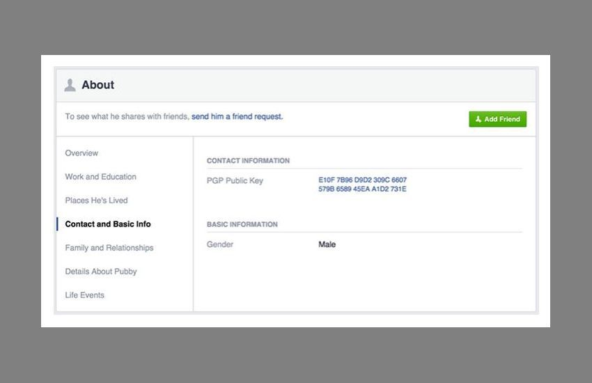 NUR ALS ZITAT Screenshot Facebook OpenPGP-SchlÃ?ssel