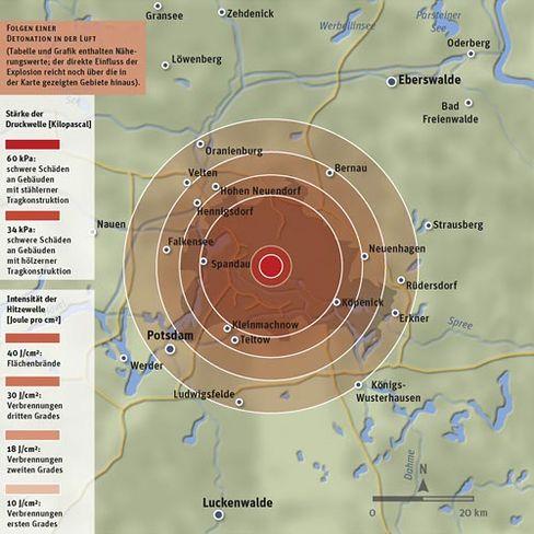 Die Vernichtung Berlins: Wirkung einer in 900 Meter Höhe über dem Zentrum von Berlin gezündeten Wasserstoffbombe mit der Sprengkraft von einer Million Tonnen TNT