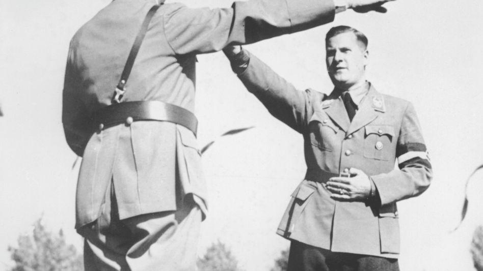 Baldur von Schirach (right), the head of the Hitler Youth, is seen with Adolf Hitler in 1936.
