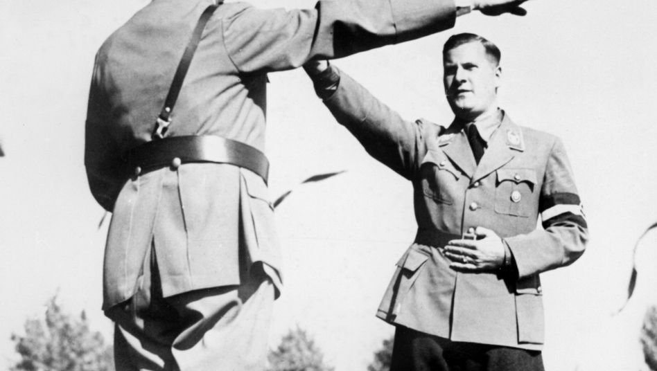 Baldur von Schirach (right), the head of the Hitler Youth, is seen with Adolf Hitler in 1936.
