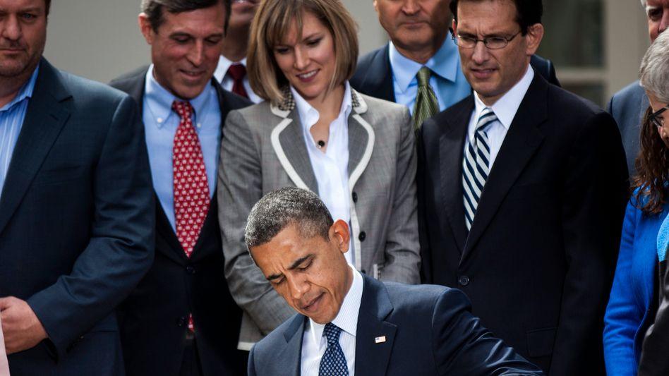 """US-Präsident Obama bei der Unterzeichnung des Jobs Act: """"Das abstoßende Gesetz"""""""