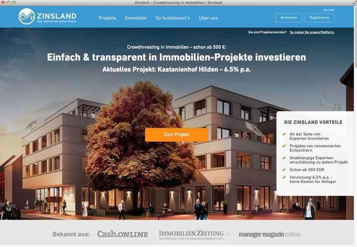 """Homepage für Crowdinvesting-Projekt: """"Anleger können ihr Geld verlieren"""""""