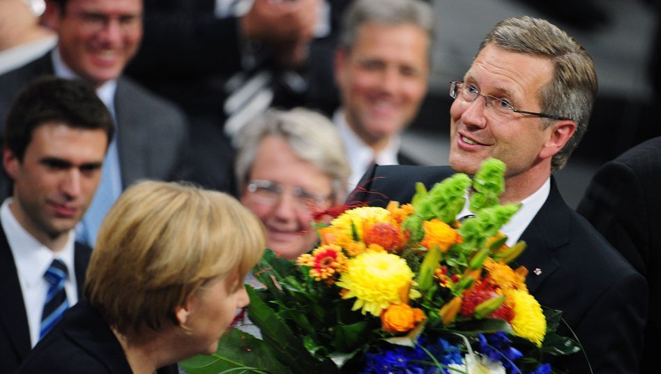 Flowers for the president. Newly elected German President Christian Wulff was elected after a marathon three-vote saga on Wednesday.