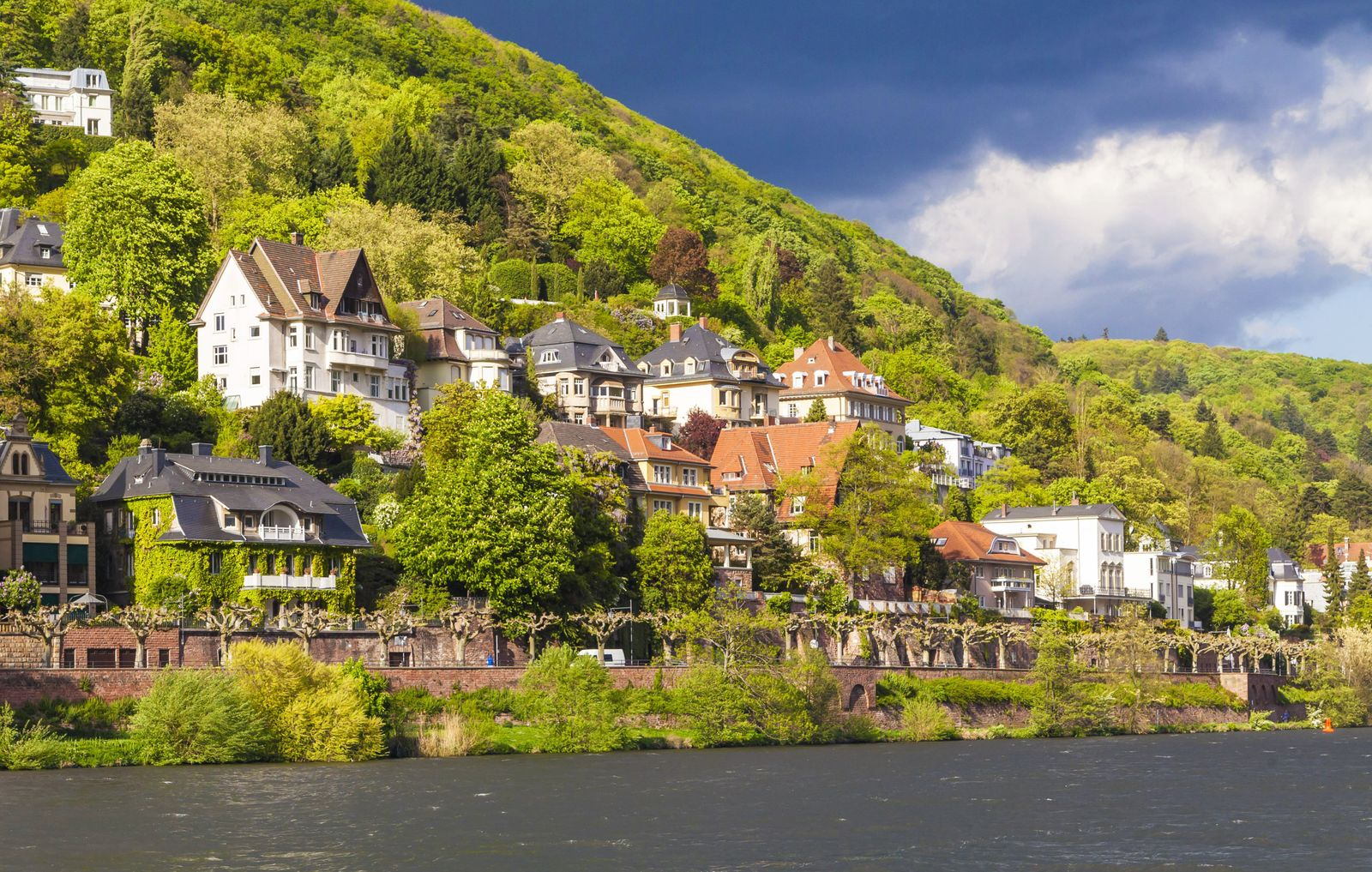 Germany Baden Wuerttemberg Heidelberg View to exclusive residential area at Neckar river PUBLICAT