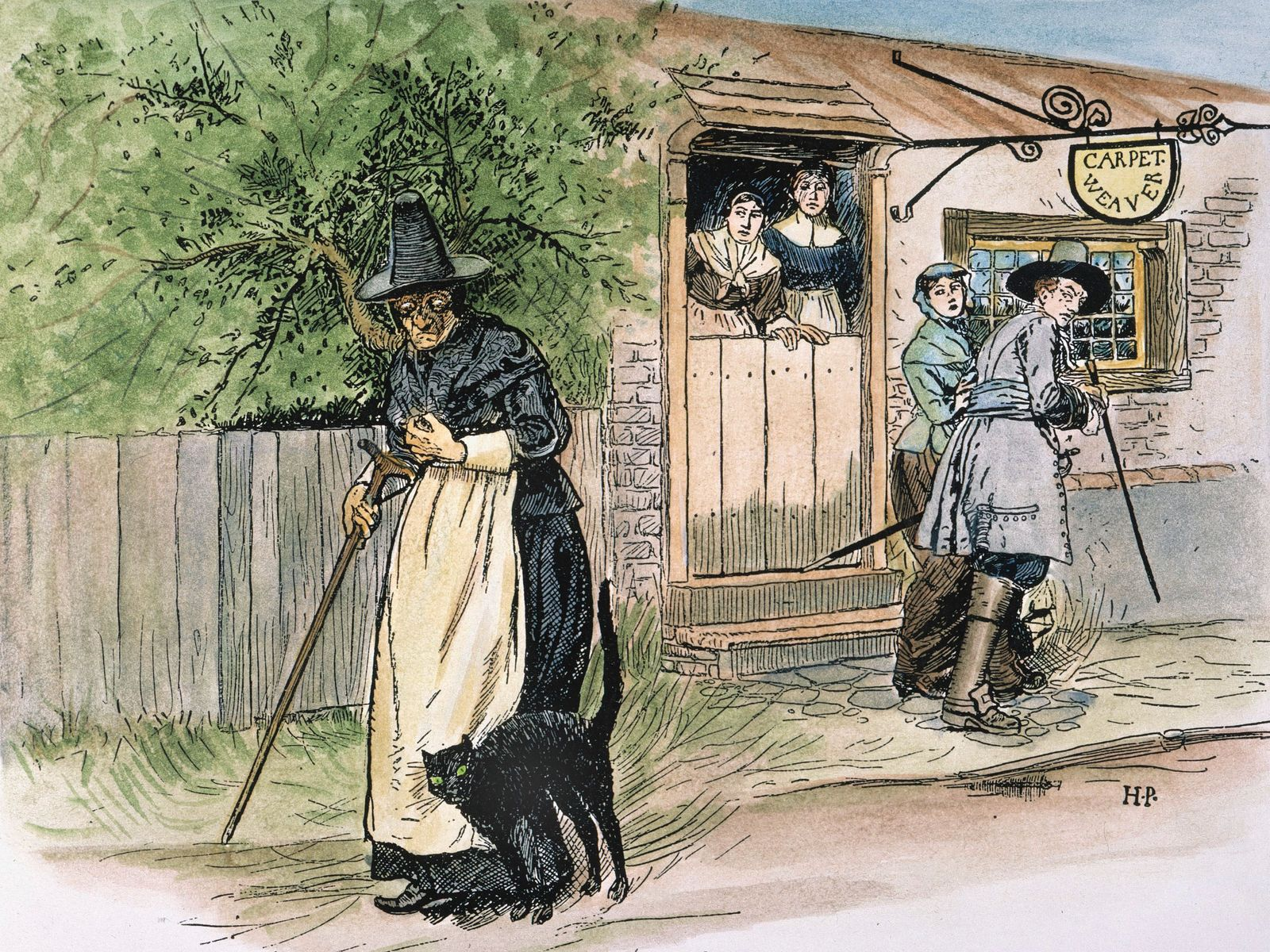 """SALEM WITCH TRIALS. An old woman viewed with suspicion on the streets of Salem, Mass., at the time of the witch trials: illustration, 1883, by Howard Pyle to accompany his poem, """"Ye True Story of Granny Greene of Salem Towne."""""""