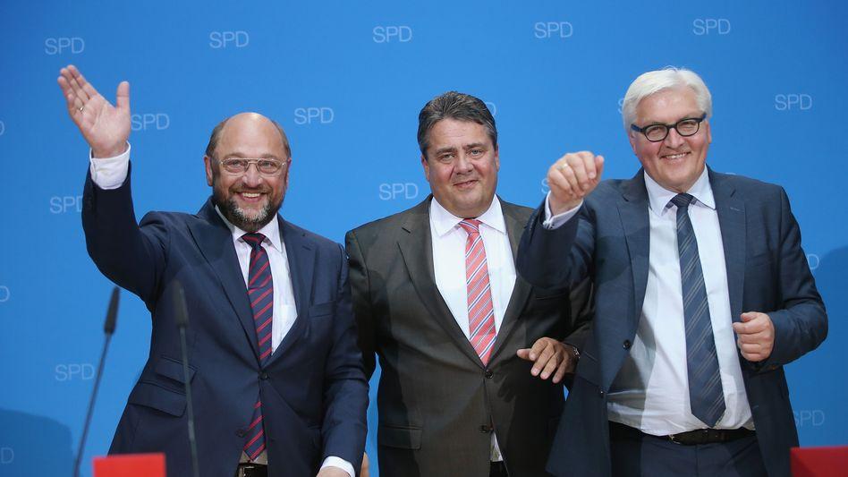 SPD-Politiker Schulz, Gabriel und Steinmeier (Archivbild)