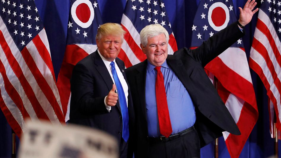 Newt Gingrich with president-elect Donald Trump