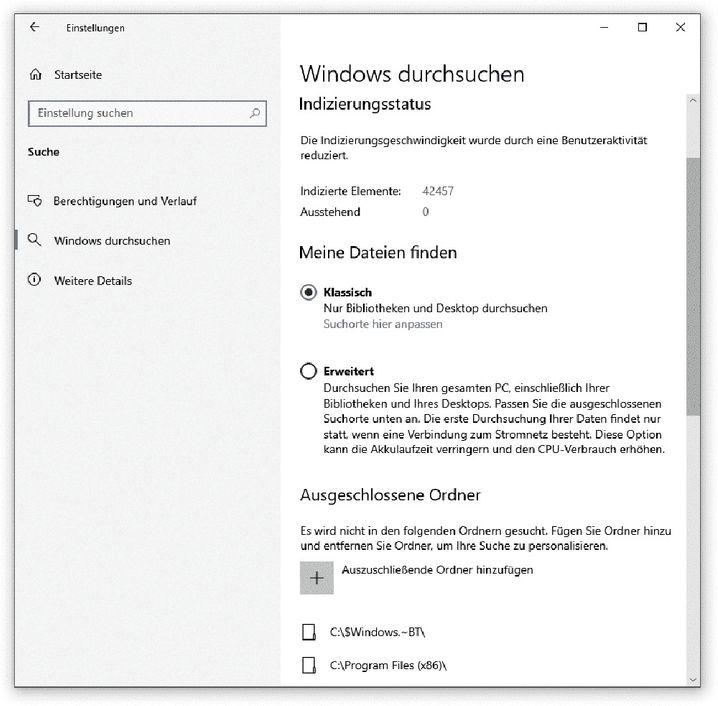Ein Einstieg in die Konfiguration der Windows-Suche findet sich in den Einstellungen
