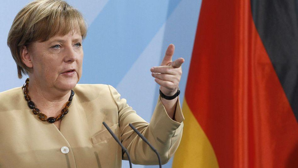 German Chancellor Angela Merkel addressing the press on Monday.