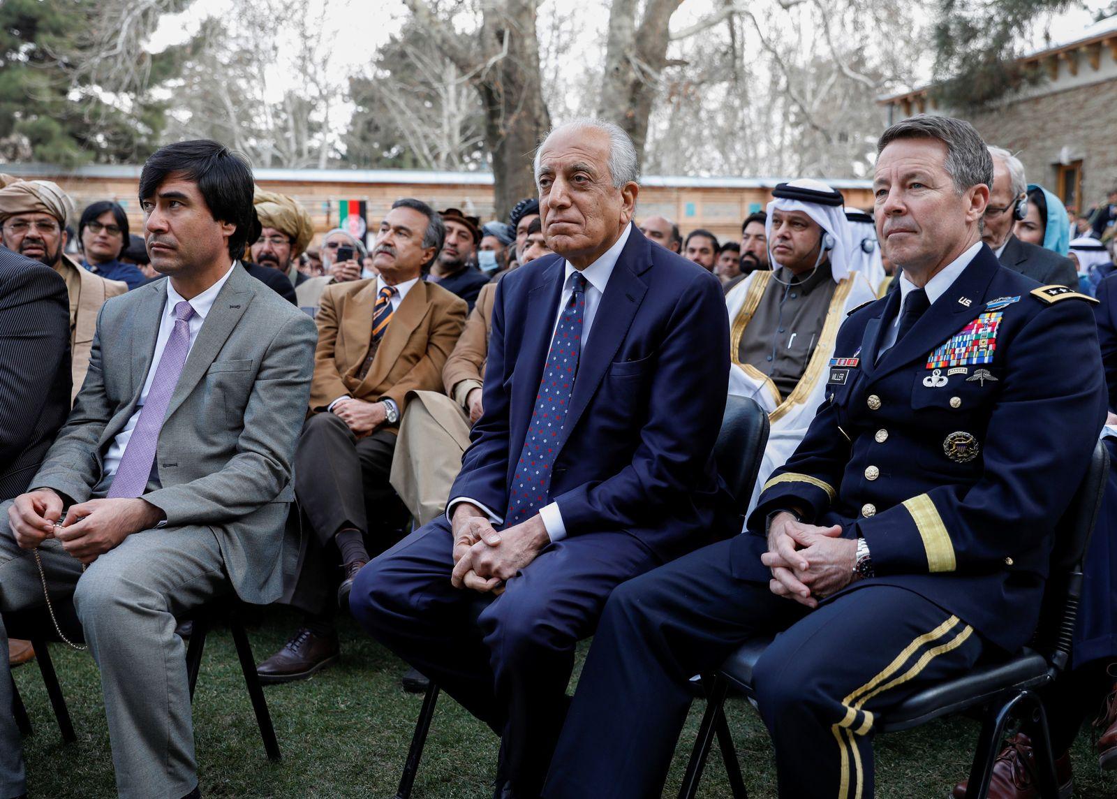 U.S. envoy for peace in Afghanistan Zalmay Khalilzad and U.S. Army General Scott Miller attend Afghanistan's President Ashraf Ghani's inauguration as president, in Kabul