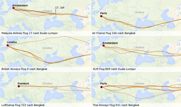 Grafik: Auf diesen Routen waren Maschinen großer Airlines in den vergangenen sieben Tagen unterwegs. Einige flogen durch die Ukraine, andere mieden das Gebiet (Quelle: flightradar24.com)