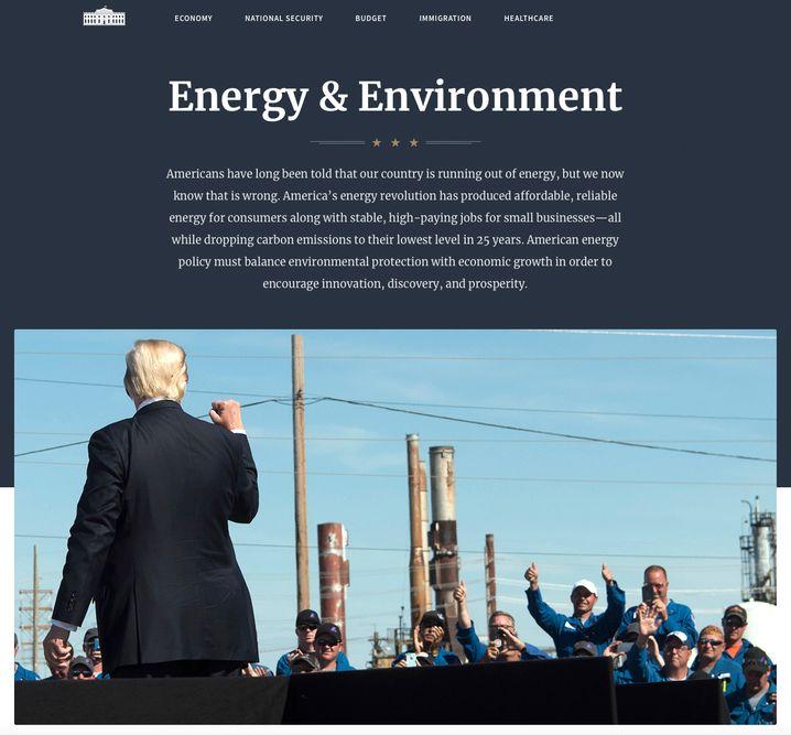 Webseite des Weißen Haus unter Trump