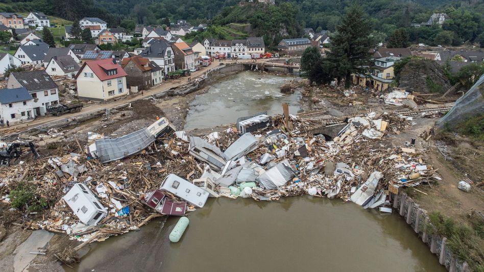 Altenahr in Rheinland-Pfalz kurz nach der Flutkatastrophe Mitte Juli