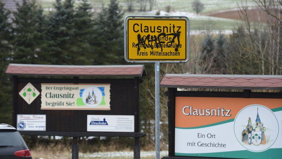 Ortseingang von Clausnitz in Sachsen