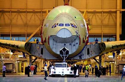 An Airbus A380 being assembled in Toulouse.