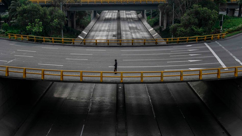 Leere Straßen in Medellín während der Coronakrise: In der Stadt gab es im März so wenige Morde wie seit 40 Jahren nicht