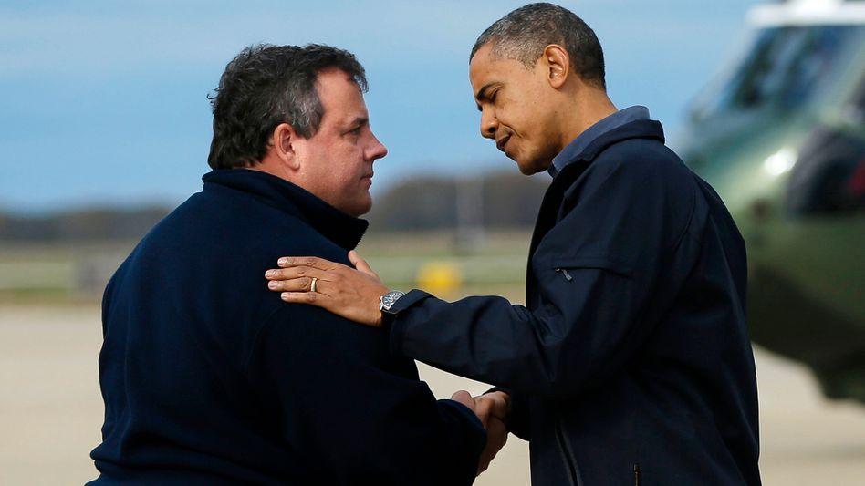 """Gouverneur Christie, Präsident Obama, nach Sturm """"Sandy"""": """"Wir warten seit 66 Tagen"""""""
